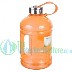 Half Gallon 64oz Orange Water Bottle Handle & Steel Cap