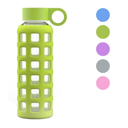 GEO 12oz Glass Reusable Water Bottle Silicone Sleeve