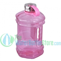 Half Gallon 77oz Hexagon Pink Plastic Reusable Water Bottle Steel Top