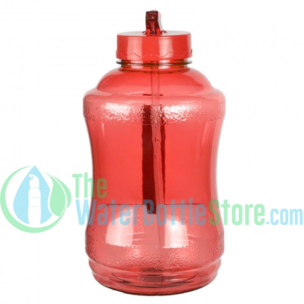 Half Gallon 56oz Red Water Bottle Straw Handle