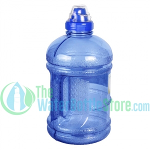 Half Gallon 64oz Dark Blue Water Bottle Handle Sports Top