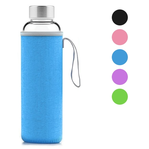 Geo 18oz Glass Drinking Reusable Water Bottle Sleeve