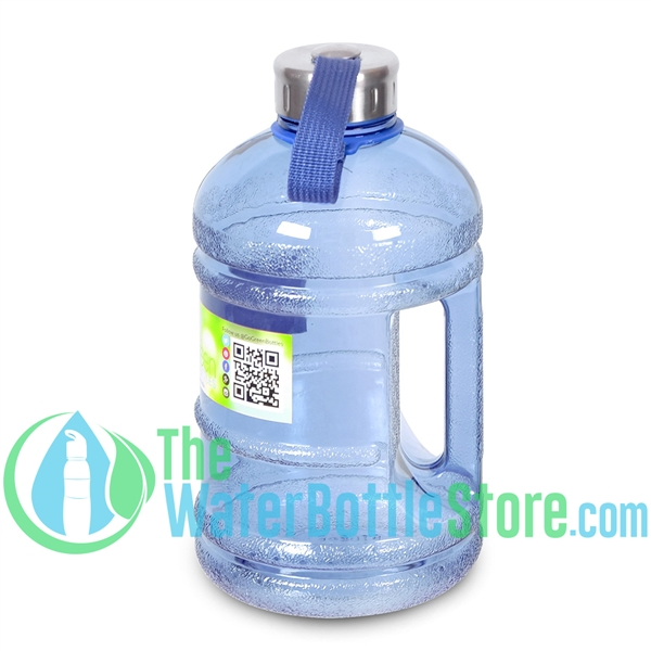 Half Gallon 64oz Dark Blue Water Bottle Handle & Steel Cap