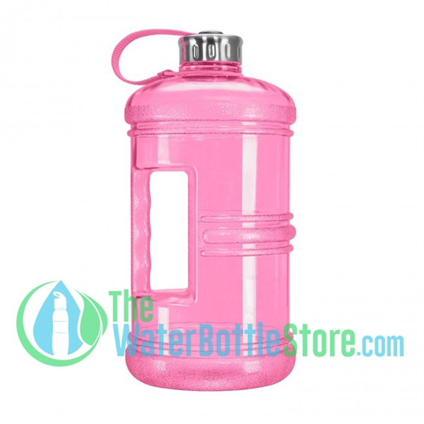3 Liter 100oz Pink Reusable Water Bottle Handle Steel Cap