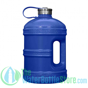 1 Gallon Solid Blue Water Bottle w/ Handle & Steel Cap