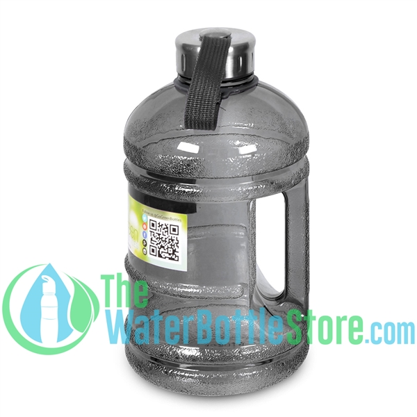 Half Gallon 64oz Black Water Bottle Handle & Steel Cap