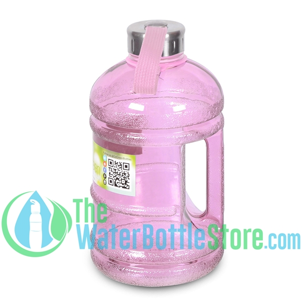 Half Gallon 64oz Pink Water Bottle Handle & Steel Cap