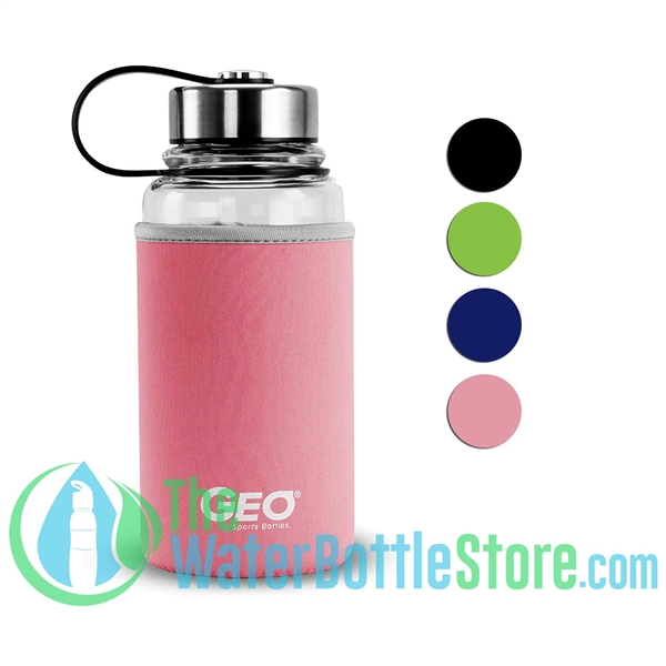 Geo 34oz 1L Glass Drinking Reusable Water Bottle Sleeve