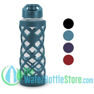 GEO 24oz Glass Reusable Water Bottle Silicone Sleeve
