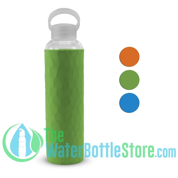 GEO 20oz Glass Reusable Water Bottle Silicone Sleeve