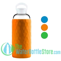 GEO 32oz Glass Reusable Water Bottle Silicone Sleeve