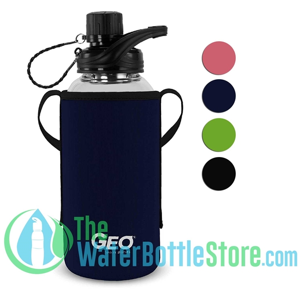 GEO 34oz Glass Reusable Water Bottle Protective Sleeve