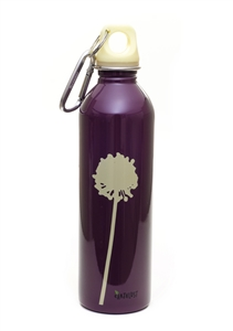 EarthLust 20 oz Flower on Purple Stainless Steel Metal Water Bottle