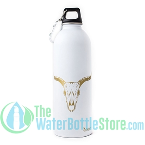EarthLust 1 Liter Cow Skull Stainless Steel Metal Water Bottle