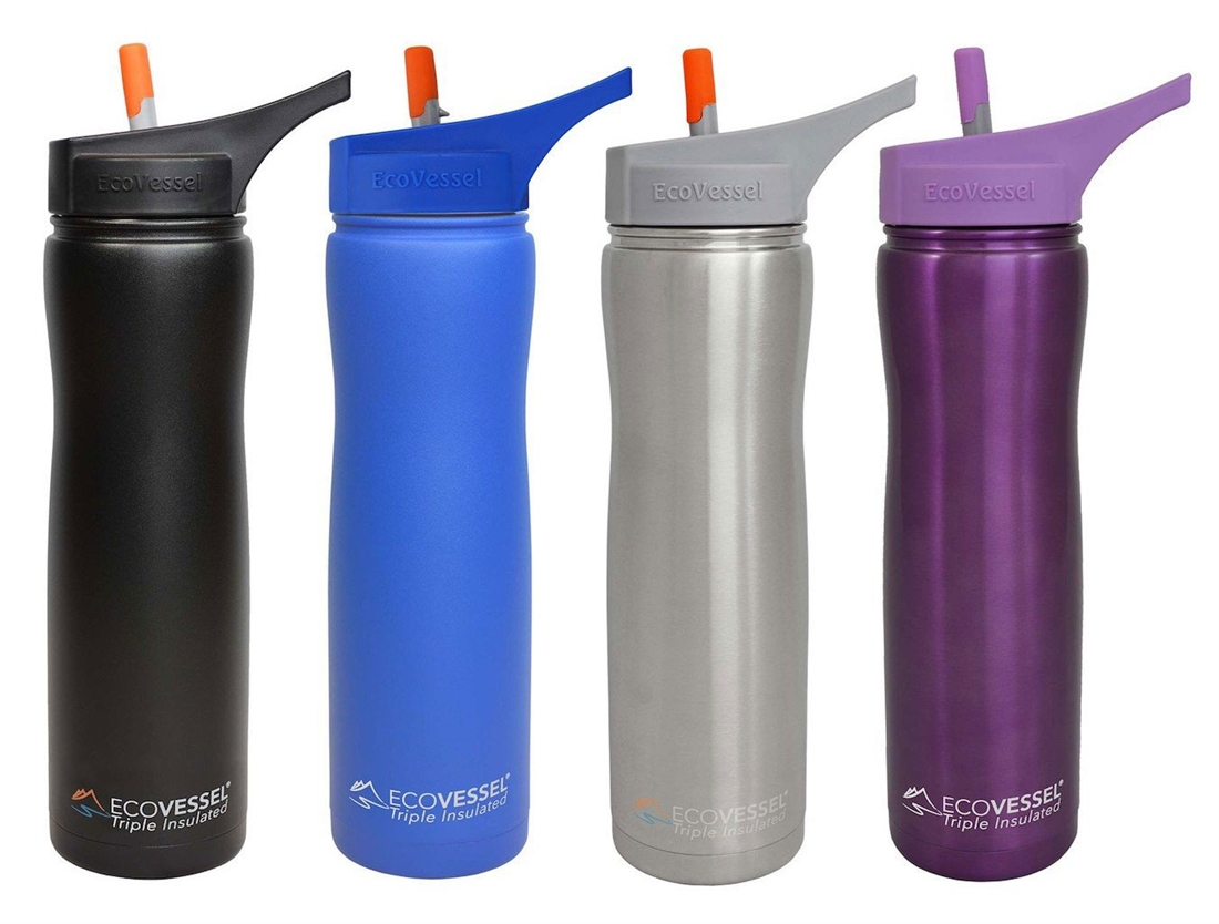 da723a87e54 SUMMIT Triple Insulated Stainless Steel Water Bottle thermos w/ Flip Straw  Spout - 24 Oz