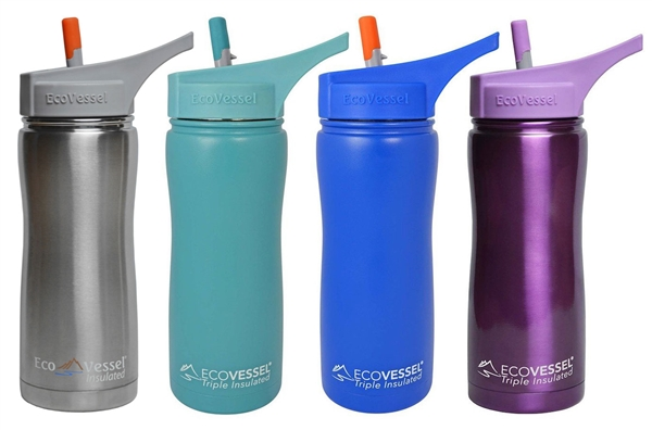 SUMMIT Triple Insulated Stainless Steel Water Bottle thermos flip Straw Spout - 17oz by EcoVessel