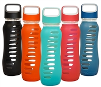 SURF Drinking Silicone Sleeve Glass Water Bottle - 22oz EcoVessel wide mouth