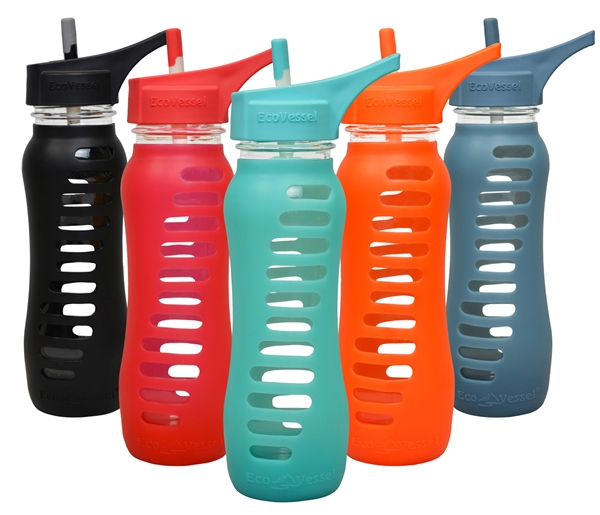 SURF Sport Single Wall Glass Water Bottle with Flip Straw Top - 22oz by EcoVessel