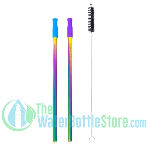 Pack of 2 Reusable Stainless Steel Rainbow Metal Straw
