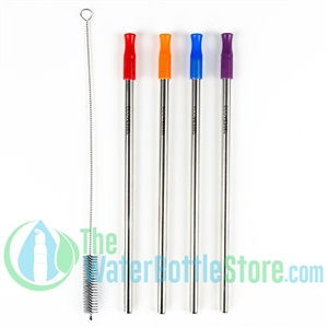 Pack of 4 Reusable Stainless Steel Metal Straw