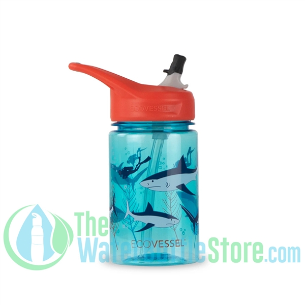 EcoVessel Splash 12oz Kids Straw Water Bottle - Shark