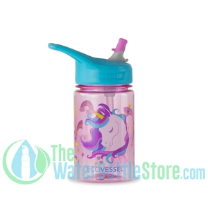EcoVessel Splash 12oz Kids Straw Water Bottle - Pink Unicorn