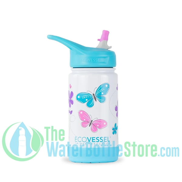 EcoVessel Frost 12oz Kids Insulated Straw Water Bottle - Butterfly