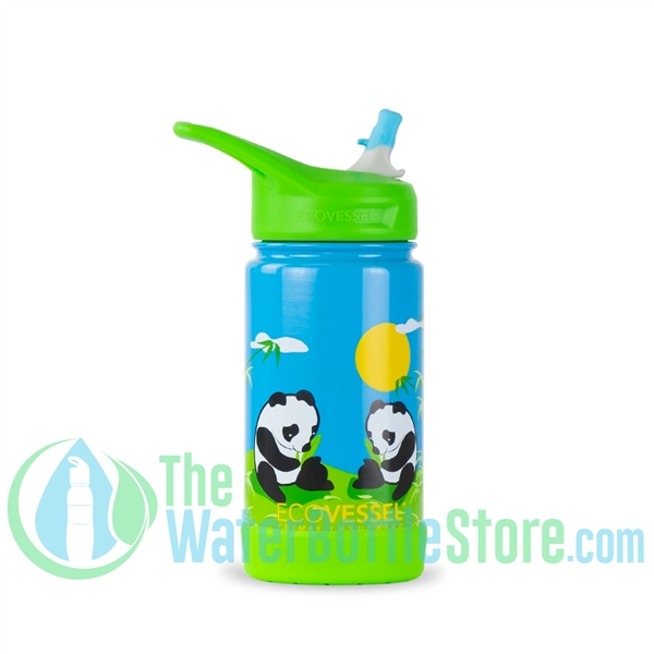 EcoVessel Frost 12oz Kids Insulated Straw Water Bottle - Panda