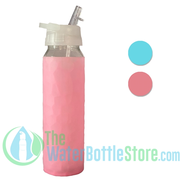 GEO 23oz Glass Reusable Water Bottle Silicone Sleeve
