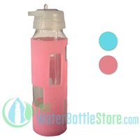 GEO 23oz Glass Reusable Water Bottle Love Silicone Sleeve
