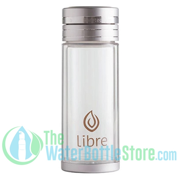 Libre 14 oz Glass Infuser Bottle Classic Silver