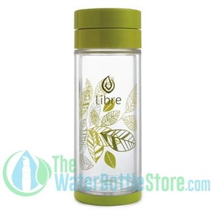 Libre 14 oz Glass Infuser Water Bottle Lively Leaves Green