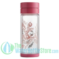 Libre 14 oz Glass Infuser Water Bottle Garden Dance Pink