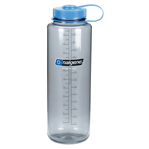 Nalgene 48 Ounce Wide Mouth Water Bottle Silo Gray Bottle With Blue Cap