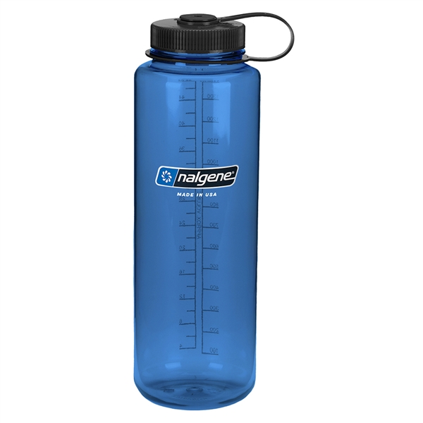 Nalgene 48 Ounce Wide Mouth Water Bottle Silo Slate Blue Bottle With Black Cap