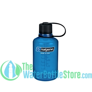 Nalgene 16 oz Narrow Mouth Water Bottle - Blue Bottle With Black Cap