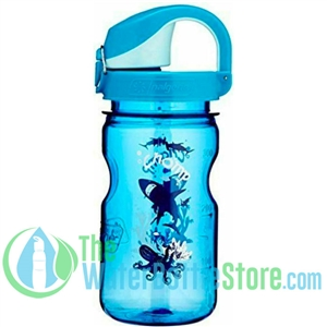 Nalgene 12 Ounce On The Fly Blue Bottle With Shark Graphic And Blue Wide Mouth Cap Water Bottle For Kids
