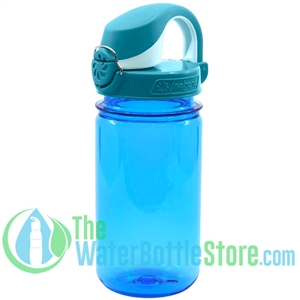 Nalgene 12 Ounce On The Fly Blue Bottle With Blue Wide Mouth Cap Water Bottle For Kids