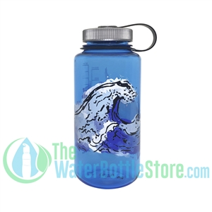 Nalgene 32 Ounce Wide Mouth Blue Water Bottle With Water Graphic