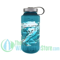 Nalgene 32 Ounce Wide Mouth Trout Green Water Bottle With Wind Graphic