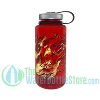 Nalgene 32 Ounce Wide Mouth Red Water Bottle With Fire Graphic