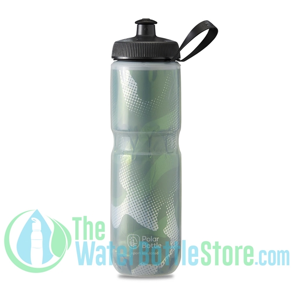 Polar 24 oz Insulated Water Bottle Sport Contender Olive Silver
