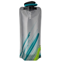 Vapur Element 1 Liter 32oz Collapsible flat foldable Reusable Water Bottle - Grey / Teal