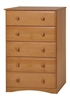 Essentials Five Drawer Chest - Natural Finish