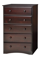 Essentials Five Drawer Chest - Cappuccino Finish