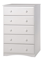 Essentials Five Drawer Chest - White Finish