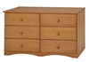 Essentials Six Drawer Double Dresser - Natural Finish