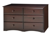 Essentials Six Drawer Double Dresser - Cappuccino Finish