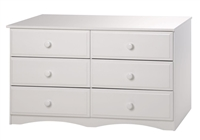 Essentials Six Drawer Double Dresser - White Finish