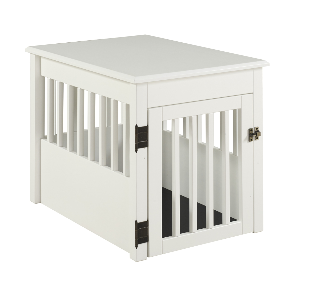 Ruffluv Pet Crate End Table White Finish